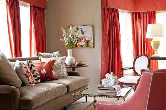 Beige and coral red living room with red curtains and armchair modern contemporary fresh for Red and cream curtains for living room
